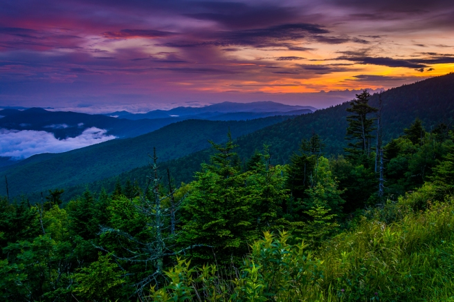 Sunset from Clingman's Dome Great Smoky Mountains National Park Tennessee.